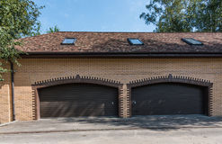 Brick yellow garage Royalty Free Stock Photography