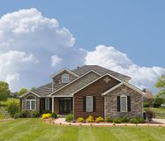 BrickAnd Stone Suburban Home Stock Photo