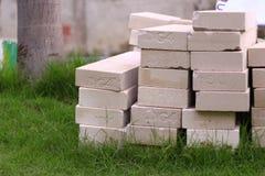 Construction. Brickbat in the garden#build#construction#cement#brick Royalty Free Stock Photography