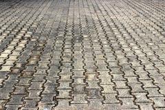 Bricked golv i en lantlig stad royaltyfri fotografi