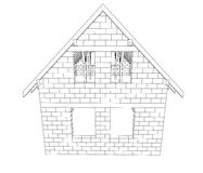 Bricked house construction line drawing vector Stock Images