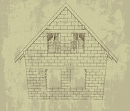 Bricked house line drawing grunge plan  Stock Photo