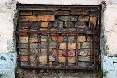 Bricked-up et porte couverte de trellis dans la façade d'un bâtiment photos libres de droits