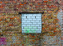 Bricked up window on a old brick wall Royalty Free Stock Photography