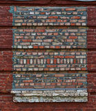 Bricked-up window in the wall of a old house. Stock Photography