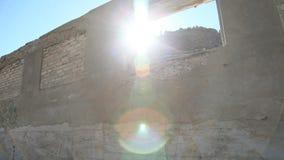 Bricked Up Windows and Sun stock video