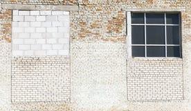 Bricked-Ziegelsteinfenster Stockbild