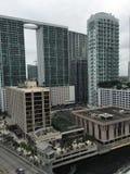 Brickell Avenue, Miami, Florida, USA. Financial district across the Miami Stock Photography