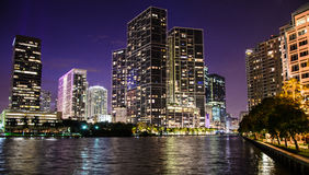Brickell Cityscape at night. Landscape view of Brickell avenue in Miami at night stock image