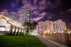 Brickell Cityscape at night. Landscape view of Brickell avenue in Miami at night royalty free stock photography
