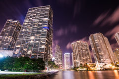 Brickell Cityscape at night. Landscape view of Brickell avenue in Miami at night stock photo
