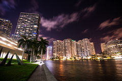Brickell Cityscape at night. Landscape view of Brickell avenue in Miami at night royalty free stock images