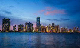 Brickell Cityscape at night. Landscape view of Brickell avenue in Miami at night royalty free stock image