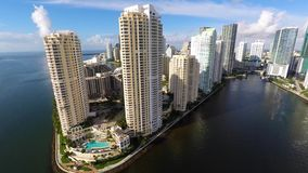 Brickell Key Miami 4k. Aerial video of Brickell Key Miami shot in 4k stock footage