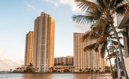 Brickell Key, Miami. Skyline from downtown Royalty Free Stock Photography