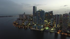 Brickell Miami at night aerial drone video stock footage
