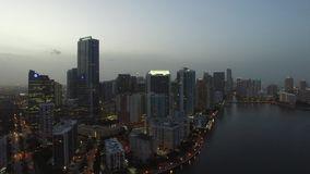 Brickell Miami at night aerial drone video stock video footage