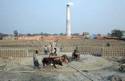 Brickfield dans Sarberia, Inde Images stock
