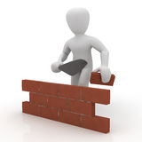 Bricklayer. 3d image, character building wall Royalty Free Stock Photo