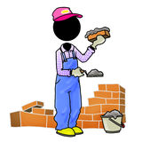 Bricklayer. Silhouette-man in work - bricklayer laying bricks to make wall Royalty Free Stock Photo