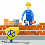Bricklayer, Builder, profession, the construction of buildings. Worker works in construction, builds a building, lays brick. Colored, flat illustration, vector Stock Images