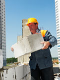 Bricklayer at construction masonry Royalty Free Stock Photography