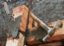 Bricklayer equipment trowel Stock Photography