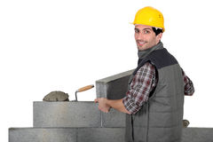 Bricklayer hard at work Royalty Free Stock Images
