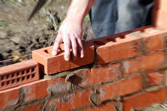 Bricklayer holding brick Royalty Free Stock Photos
