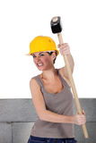 Bricklayer  holding hammer Royalty Free Stock Images
