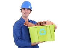 Bricklayer in jumpsuit Royalty Free Stock Photography