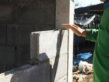 Bricklayer laying bricks. Stock Images