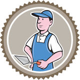 Bricklayer Mason Plasterer Rosette Cartoon Stock Photos
