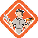 Bricklayer Mason Plasterer Standing Shield Cartoon Royalty Free Stock Images