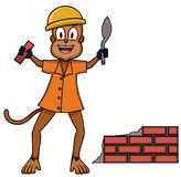Bricklayer Monkey Plaster Worker Cartoon Royalty Free Stock Photography