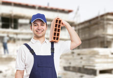 Bricklayer portrait at work outdoor Stock Photos