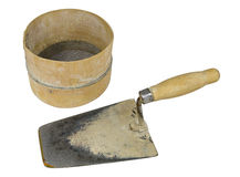 Bricklayer tools. Trowel and sieve royalty free stock photo