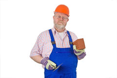Bricklayer with trowel Royalty Free Stock Photography