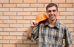 Bricklayer & wall Royalty Free Stock Images