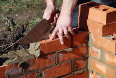 Bricklayer at work Royalty Free Stock Photos