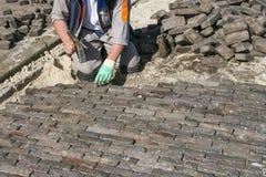 Bricklayer at work royalty free stock image