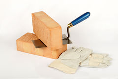 Bricklayers tools Stock Photo