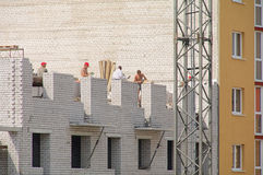 Bricklayers at work Royalty Free Stock Photography