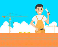 Bricklaying. Work in the construction of a building on a construction site. Vector illustration Royalty Free Stock Images