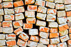 Bricks. A close up of an old pile of bricks. Construction and Demolition Recycling concept Royalty Free Stock Image
