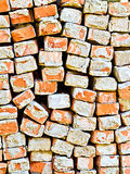 Bricks. A close up of an old pile of bricks. Construction and Demolition - Recycling concept Royalty Free Stock Image