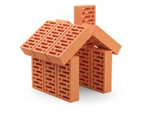 The bricks are arranged in the shape of the house. Building konc. Ept. 3d illustration on white background Royalty Free Stock Photography