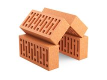The bricks are arranged in the shape of the house. Building. The bricks are arranged in the shape of the house. Building koncept. 3d illustration on white Stock Photography