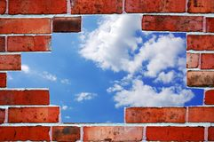 Bricks and blue summer sky Stock Images