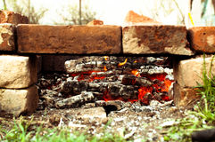 Bricks brazier with glowing coals Royalty Free Stock Images